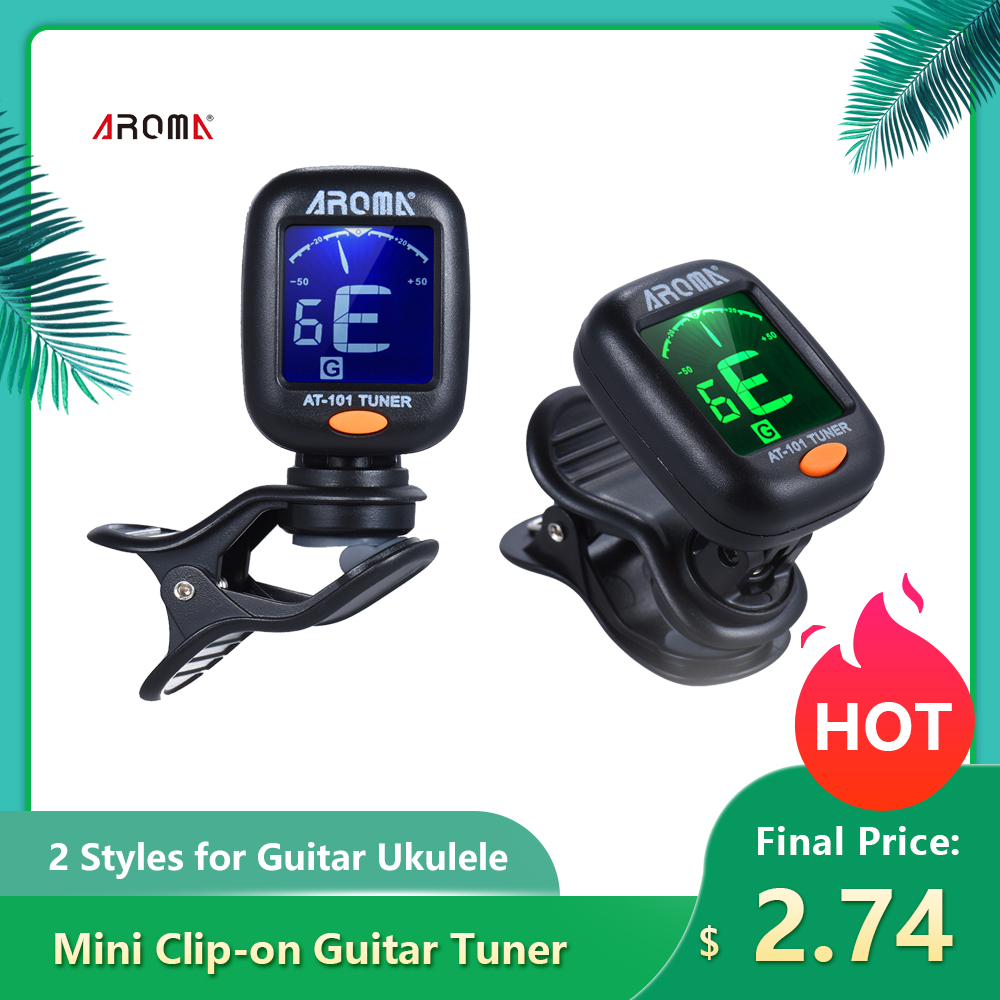AROMA AT-101 Digital Guitar Tuner Portable Mini Clip-on Tuner With Foldable Rotating Clip High Sensitivity For Guitar Ukulele