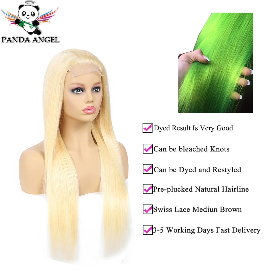 Panda 4x4 Honey Blonde Lace Wigs 613 Brazilian Hair Ombre Straight Lace Closure Wig 150 Density Panda 4x4 Honey Blonde Lace Wigs #613 Brazilian Hair Ombre Straight Lace Closure Wig 150% Density Blonde Human Hair Wigs Remy