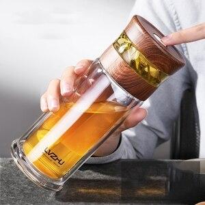 Image 2 - 400ML עסקים סוג מים בקבוק זכוכית בקבוק עם נירוסטה תה Infuser מסנן כפול קיר זכוכית ספורט מים כוס 35