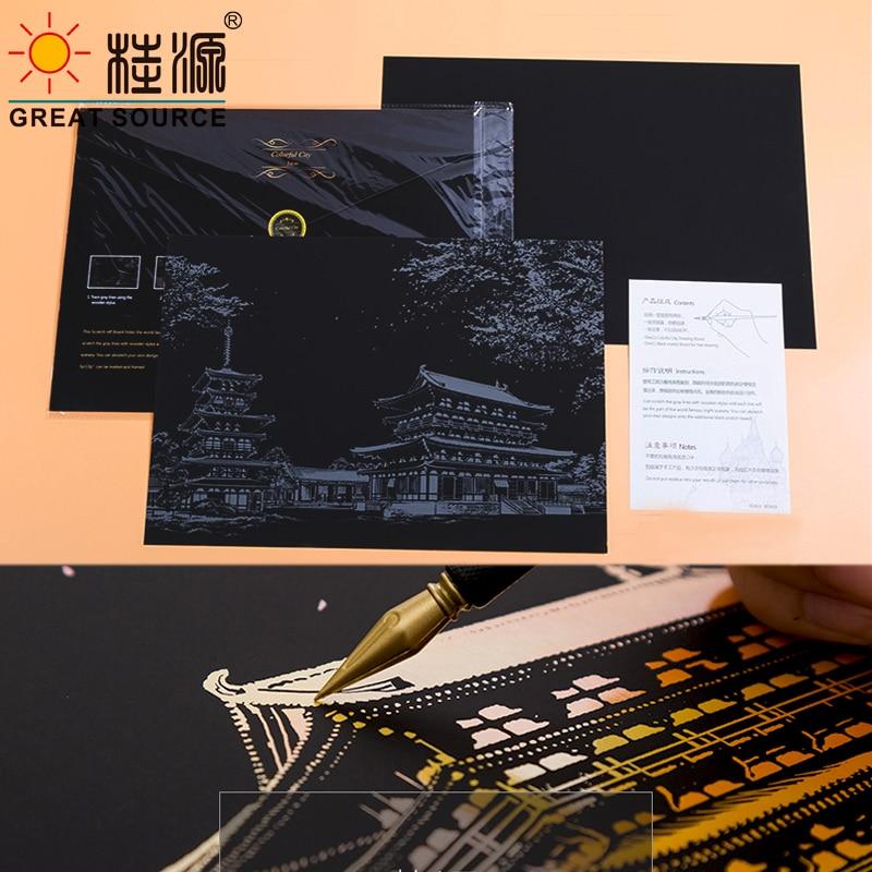 Scratch Paper Art Paper Art Design Paper 10 sets (1 Sheet Pre-Design Scratch Paper & 1 Sheet Empty DIY Scratch Paper per Set)