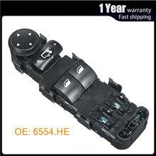Para Citroen C4 2004, 2005, 2006, 2007, 2008, 2009, 2010 eléctrico interruptor de Control para ventana eléctrica regulador botón consola 6554HE
