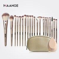 MAANGE Pro 12/18/20 Uds pinceles de maquillaje conjunto con bolsa + 1 Uds esponja belleza polvo base de sombra de ojos cepillo lana sintética