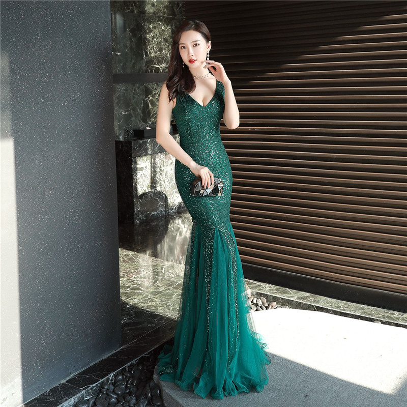 Sequined Embroidery Party Evening Dress 2020 Ladies Mesh Dresses Sexy Vestidos De Gala Lace Gown Robe De Soiree Long Prom Dress