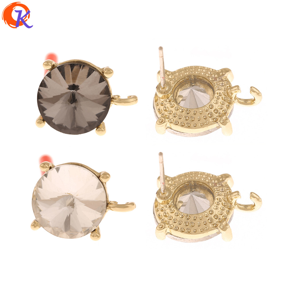 Cordial Design 50Pcs 12*16MM Rhinestone Earrings Stud/Jewelry Accessories/Hand Made/DIY Parts/Jewelry Making/Earring Findings