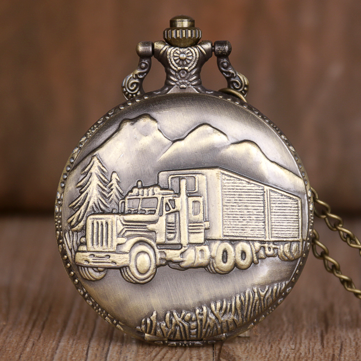 Bronze Quartz Pocket Watch Train Carving Car Design Men Clock Engraved Fob Watches With Gift TD2042 Gifts Drop Shipping