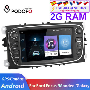 Podofo 2 DIN 7 Android 8.1 Car Radio GPS Multimedia Player Navigation For ford focus EXI MT 2 3 Mk2/Mondeo/S-MAX/C-MAX/Galaxy image