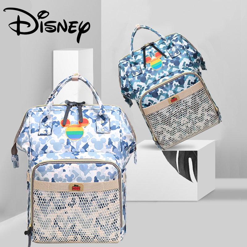 Disney Camouflage Mesh USB Diaper Bag Backpack Nappy/Baby Bag Organizer Maternity Bags Large Capacity Rainbow Mickey Head New