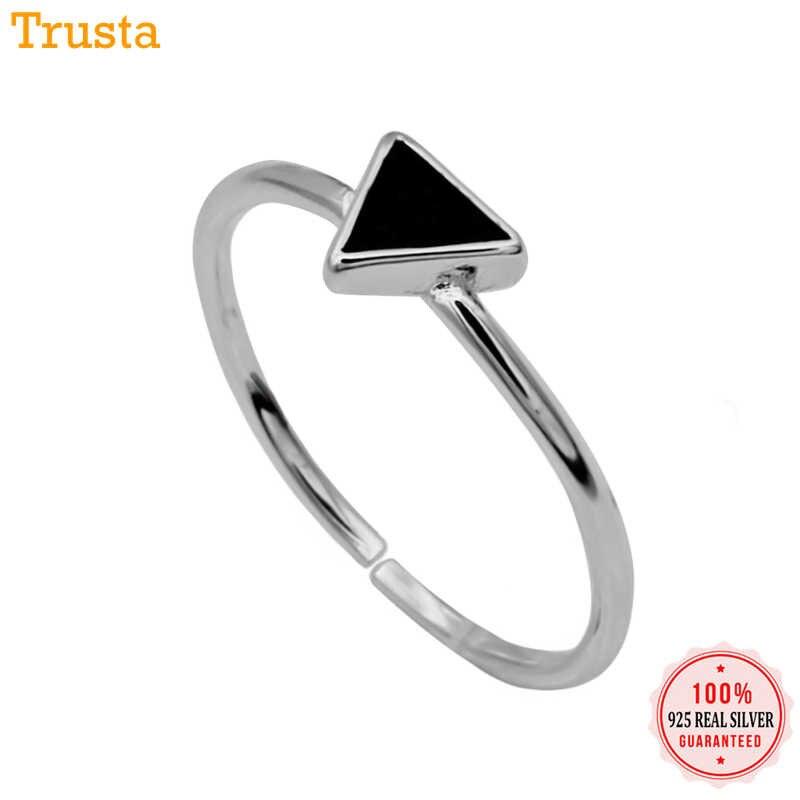 Trusta ผู้หญิงแหวนเงิน 925 แหวนแฟชั่นเครื่องประดับสีดำสามเหลี่ยมแหวนค็อกเทลขนาดใหญ่ 5 6 7 สาวเด็ก Xmas ของขวัญ DS225