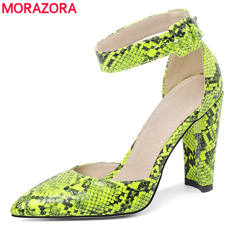 MORAZORA 2020 New Arrival Fashion Shoes High Heels Summer Shoes Ladies Pumps Prom Party Shoes Female Snake Printed Size 34-46