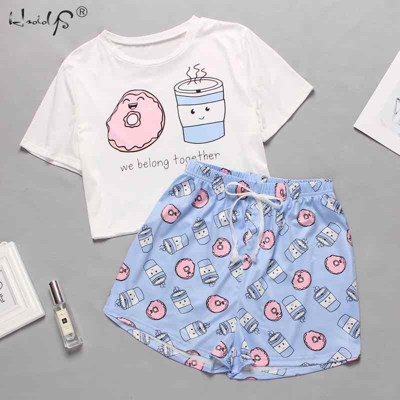 Wanita Baju Tidur Lucu Kartun Cetak Pendek Set Piyama Wanita Piyama Set Manis Lengan Panjang Kemeja & Celana Pendek musim Panas Pijama