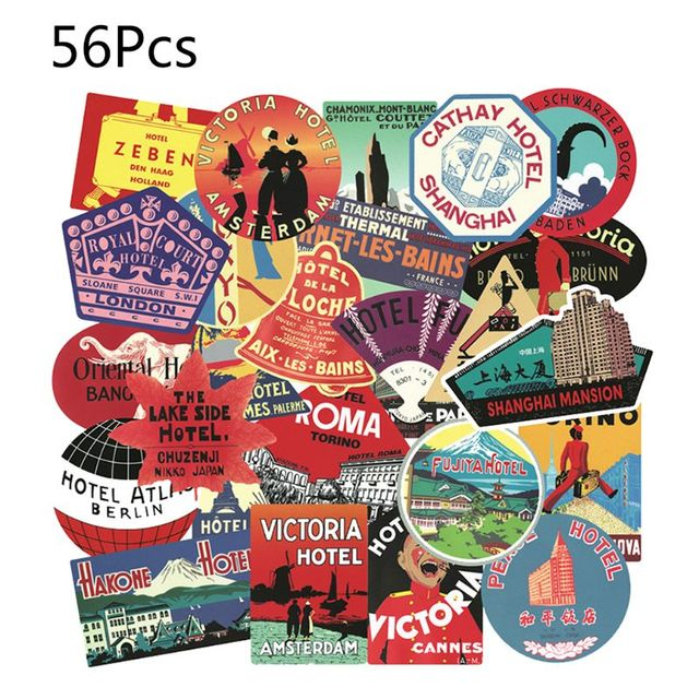 56PCS Waterproof Sunscreen PVC Retro Decal Labels Funny Removable Car Fridge Luggage Suitcase Travel Graffiti Stickers