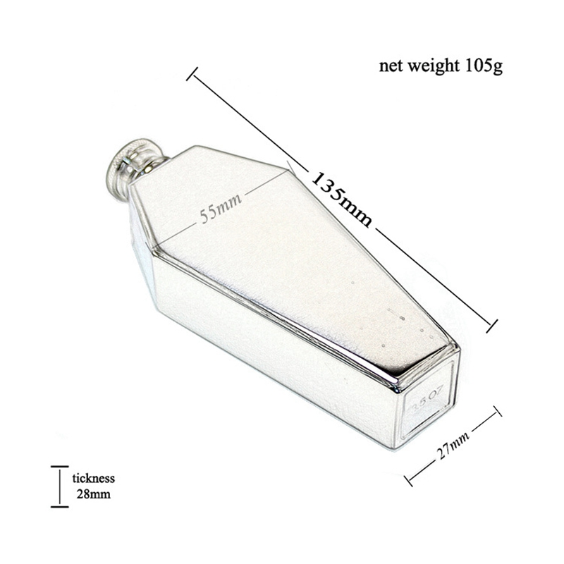 Mini hip flask 100ml personalized coffin shape stainless steel