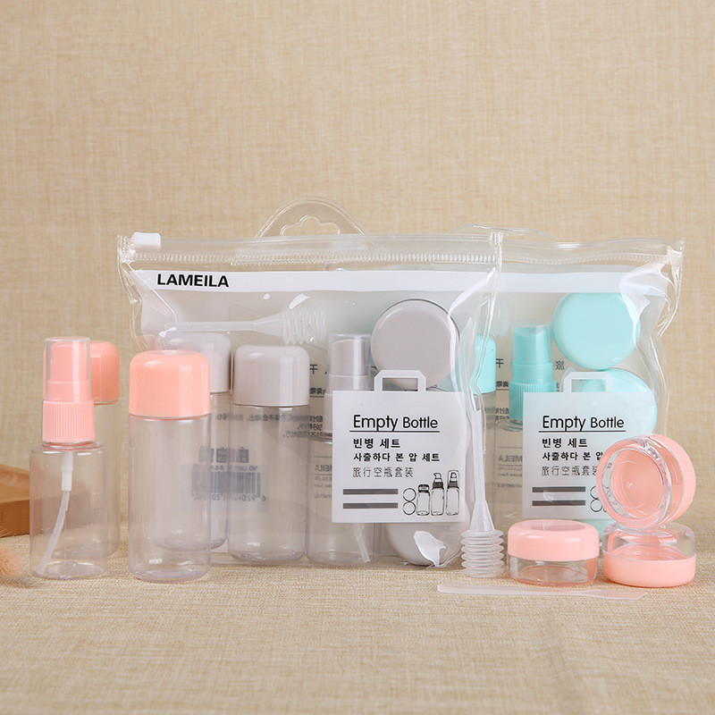8pcs/set Travel Makeup Bottle Set Of 8 Spray Bottle Lotion Bottle Cream Box Stick With Storage Bag
