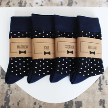 Custom Groomsmen Socks Personalized Wedding Sock With Labels, Black Polka Dot Sock,Gift