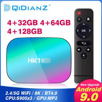 HK1Box Android 9 0 Smart TV BOX 4K zestaw Top odtwarzacz multimedialny Box procesor Amlogic S905X3 android tv smart tv PK H96 MAX x96 mini X96 max t95 tanie i dobre opinie DQiDianZ 100 M CN (pochodzenie) S905X3 quad-core ARM Cortex A55 32 GB eMMC Brak 4G DDR3 DC 5 V 2A Karty TF Do 64 GB Mail-G31 MP2