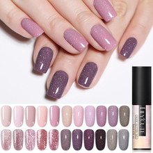 LILYCUTE 5ml Nude Glitter Gel Nail Polish Holographic Rose Gold Sequins Soak Off Art UV