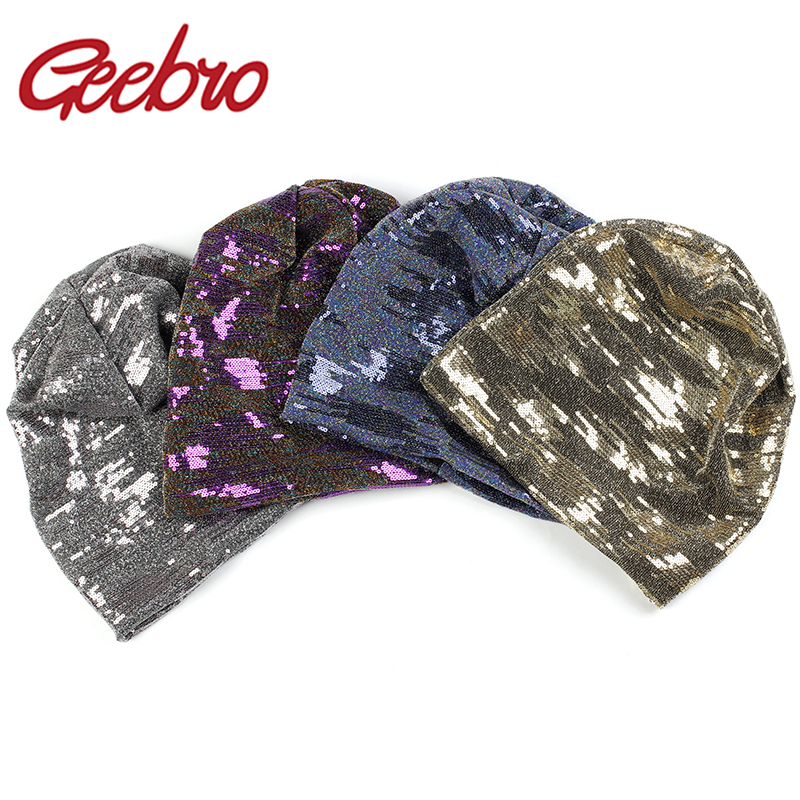 Geebro New Women Round Multicolor Sequins Slouchy Beanies Hat And Caps Men Winter Autumn Baggy Knitted Skullies Gorros