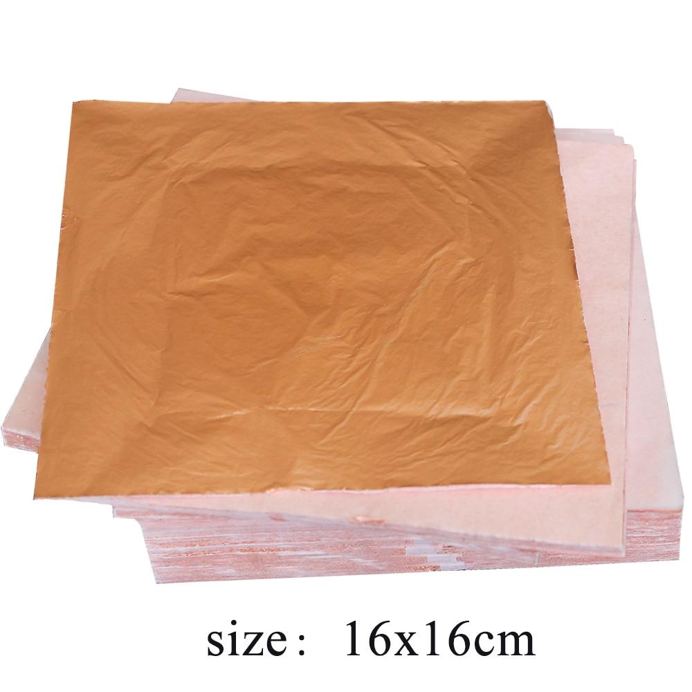 1000pcs 14X14cm&16X16cm Imitation Gold Leaf Sheets,Gilding Glue,Red Pure Copper Leaf Sheets ,Decoration Materials