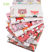 Série de dessin animé de motif de renards rouges, tissu de coton sergé imprimé, pour le bricolage