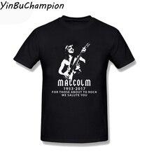 Cool Fashion AC DC Men T Shirt Malcolm Young Australian Guitarist Music T-Shirt White Gray Men's T Shirts Streetwear XS-3XL