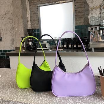 Fashion Candy Color Ladies Armpit Bag Retro Nylon Female Hobos Handbag Vintage Design Women Baguette Shoulder Bag Clutch Purse fashion women s clutch bag with engraving and stitching design