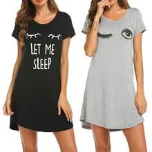 새로 여자 잠옷 귀여운 수면 셔츠 인쇄 나이트 드레스 짧은 소매 Nightwear