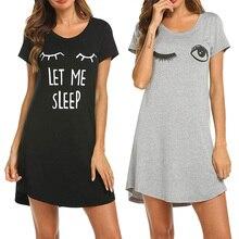 Nouvellement pyjama pour femmes chemise de sommeil mignon imprimé robe de nuit à manches courtes vêtements de nuit