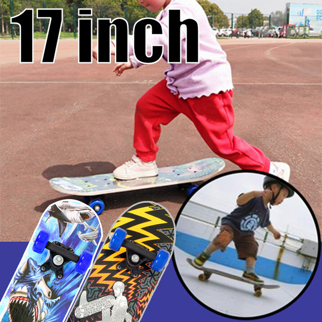 скейтборд Sport Complete Skateboard 17 inches Gifts for Skateboarder Child Maple Wood standard skateboard Super soft PU Wheels