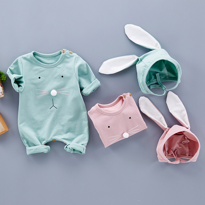 Baby cotton Jumpsuit Long Sleeve Spring And Autumn Clothes Romper Rabbit Ears Clothes for Infant baby children