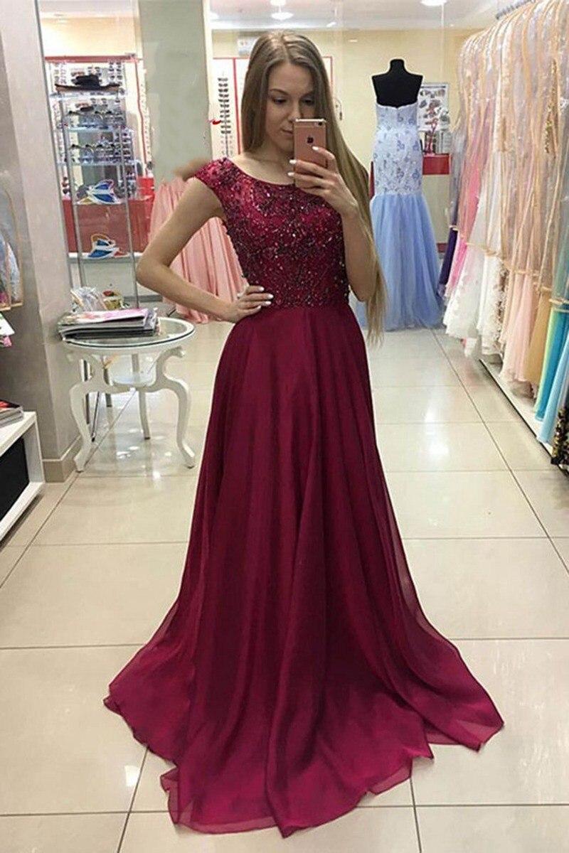 Nouveau arrivé bourgogne robes De bal pour les femmes Scoop cou strass robes formelles robe De soirée Vestidos De Fiesta De Gala 2019