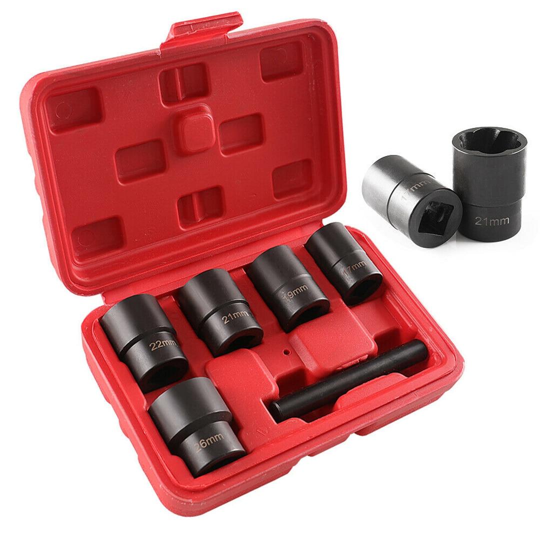 Universel 6 pièces/ensemble 17-26mm endommagé vis écrou de serrage détachants torsion douille boulon extracteurs outils accessoires
