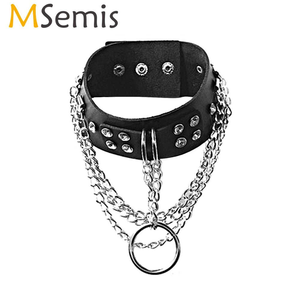 MSemis Unisex Choker Collar Punk Gothic Black Leather Adjustable Necklace Rock Club Party KTV Jewelry Accessories For Women Men