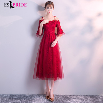 Red Women Elegant Evening Dresses 2019 Tulle Lace Cocktail Party Gowns Christmas Formal Dress Half Sleeve Robe De Soiree ES2827