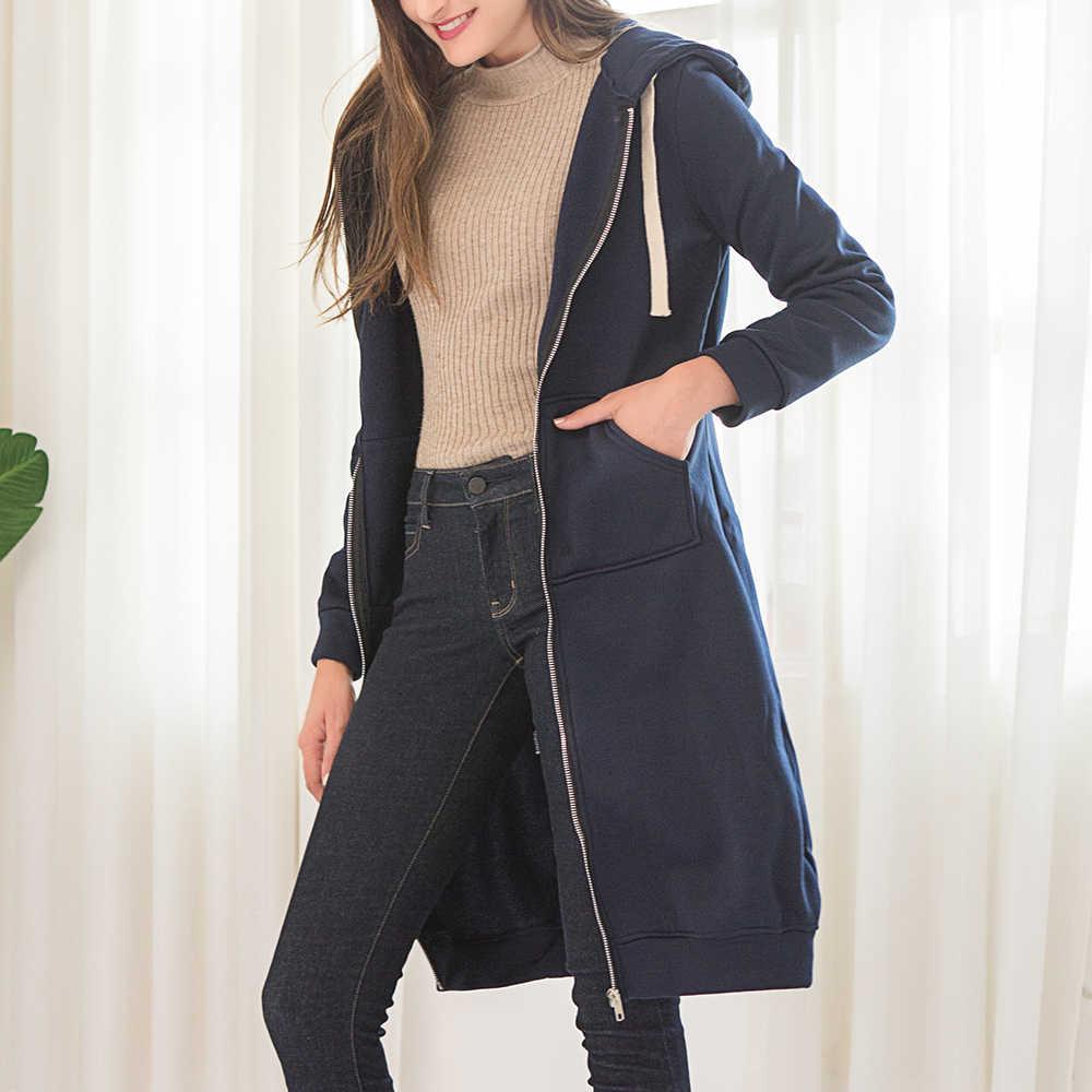 Wipalo 2019 סתיו החורף מקרית נשים ארוך נים סווטשירט מעיל רוכסן הלבשה עליונה ברדס מעיל בתוספת גודל קטיפה להאריך ימים יותר חולצות