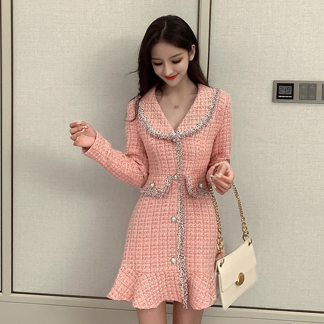 Sweet Pink Dress Long Sleeve Korean Style Buttons Mini Thick Winter Dress Women Good Quality Ruffle Kawaii Vintage Vestido Mujer