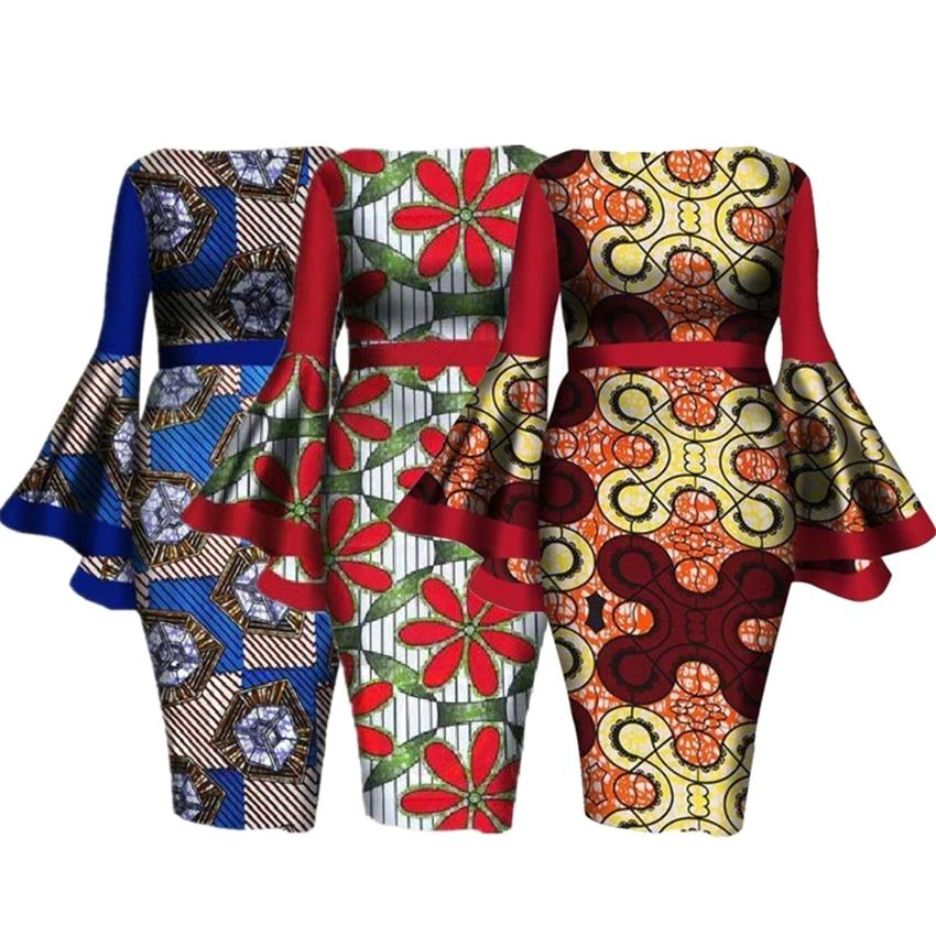 Лидер продаж L 6XL платье в африканском стиле Дашики для женщин элегантные цветочные Анкары Базен риче рукав колокол вечерние сексуальные платья бодикон|Африканская одежда|   | АлиЭкспресс