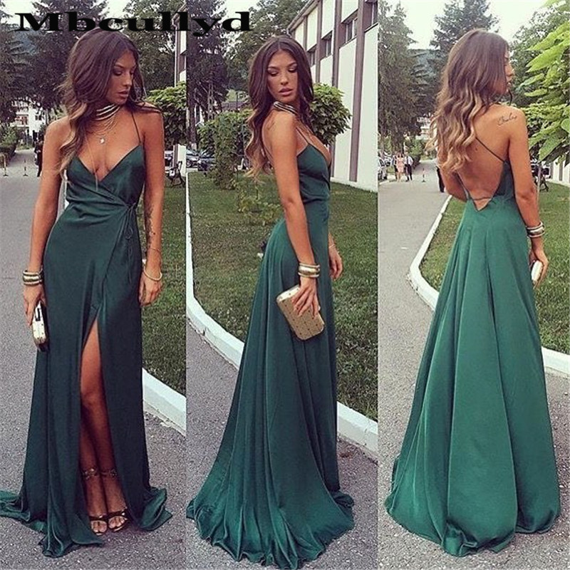 Mbcullyd Deep V-neck Prom Dresses Long 2020 Sexy Backless Side Split Vestidos De Gala Formal Green Mermaid Evening Gowns 2020