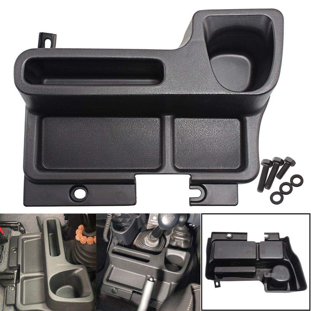 Black ABS Insert Center Console Storage Box Armrest Organizer Tray Panel For <font><b>Toyota</b></font> Land Cruiser LC70 LC71 <font><b>LC76</b></font> LC77 LC78 LC79 image