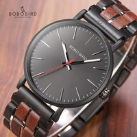 BOBO BIRD Relogio masculino Simple Watch Men Wood Wristwatch Japan Movement Quartz Wrist watch Stainless Steel Wooden Metal Band