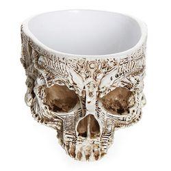 Intagliato a mano Cranio Vaso di Fiori Vaso Ciotola di semi di Piante Succulente Fioriera Da Giardino Contenitore di Casa Decorazione Di Halloween