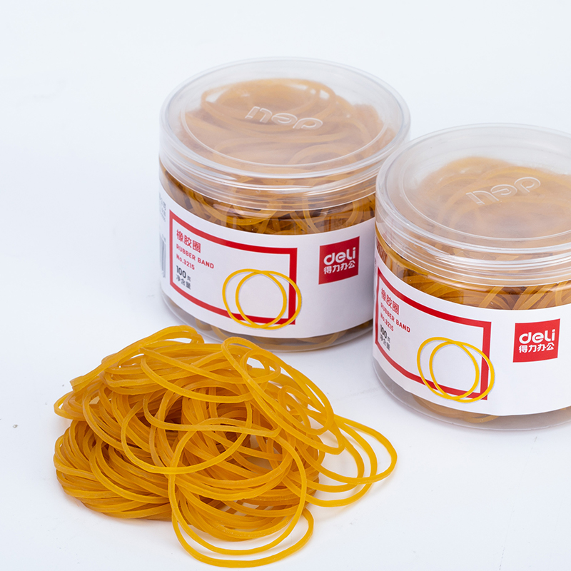 Deli 3215 Rubber Band Yellow Rubber Ring Office Supplies Packaging 50g 100g Binding Elasticity