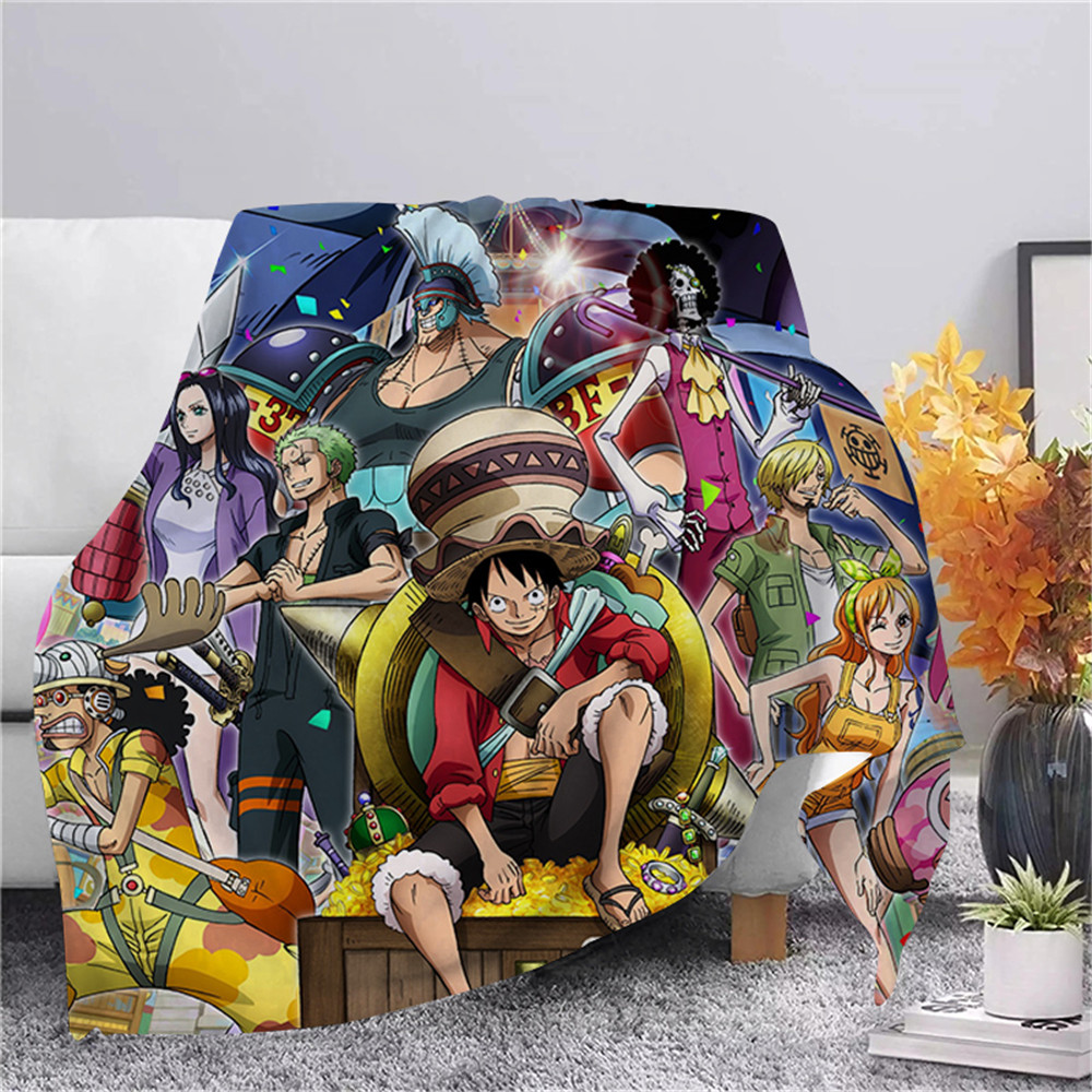 CLOOCL One-Piece Luffy Flannel Blanket Japan Anime Print Plush Quilt Adult Home Office Sofa Travel Warm Casual Student Blankets