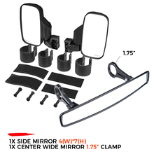 """UTV Side Mirrors Rearview mirror 1.75""""/2"""" Clamp for Can Am Commander Maverick 800 1000 for POLARIS RZR XP 900 for Yamaha Viking"""
