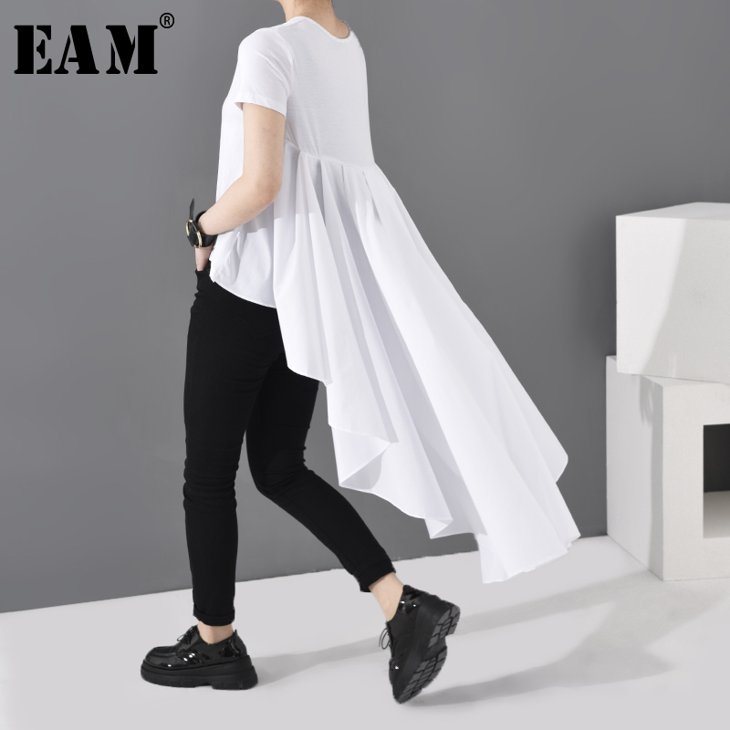 [EAM] Women White Ruffles Back Long Temperament T-shirt New Round Neck Short Sleeve Fashion Tide  Spring Summer 2020 JL86700
