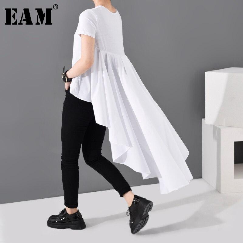 [EAM] Women White Ruffles Back Long Temperament T-shirt New Round Neck Short Sleeve Fashion Tide  Spring Summer 2020 JL86700