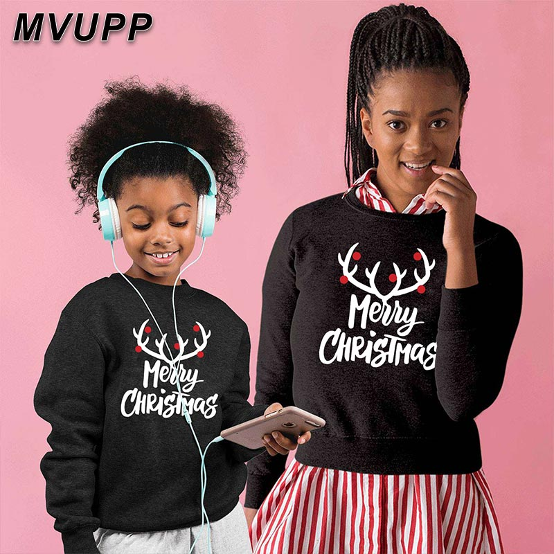 Matching Family Christmas Sweaters Dad Mom Son Daughter Deer Cartoon Hoodies Look Winter Cotton Clothes O Neck Mother Daughter
