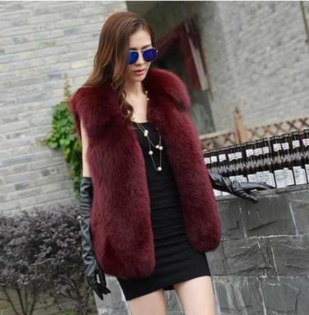2019 Vetement de invierno de las mujeres abrigo imitación de piel de zorro Plus tamaño abrigo peludo chaleco peludo Slim Sexy abrigo Lolita chaleco chaleco grueso AW238