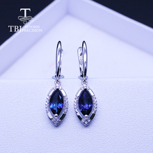 Синяя серьга с топазом mq 5*10 мм 2.3ct настоящий драгоценный камень ювелирные изделия из стерлингового серебра 925 пробы для женщин tbj продвижение