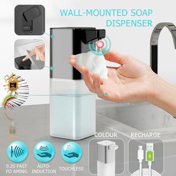 Bezdotykowy odkażacz do rąk maszyna dezynfekcja automatyczny dozownik mydła bezdotykowy dozownik mydła w płynie naścienny tanie i dobre opinie CRMBO CN (pochodzenie) Dozownik mydła w piance 2021043005 Dozowniki na mydło w płynie Soap Dispenser Wall Mounted Kitchen Bathroom Toilet