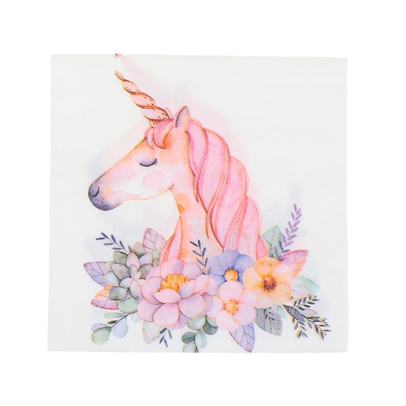 20Pcs/Pack Unicorn Theme Paper Napkins Food Tissue Tissue Napkins Wedding Decoration Birthday Party Festival Supplies 33x33cm
